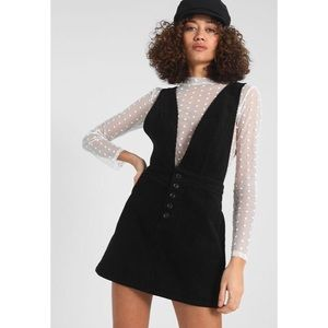 🆕 Black Corduroy Button Overall Mini Dress